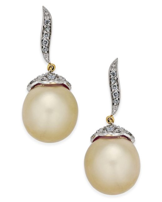 Macy's | Metallic Cultured Oval Golden South Sea Pearl (11mm) And Diamond (3/8 Ct. T.w.) Drop Earrings In 14k Gold | Lyst