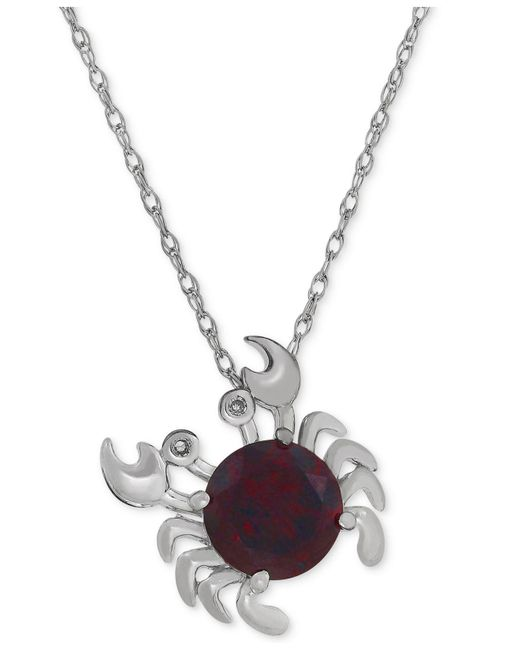 Macy's - Metallic Rhodolite Garnet (2-1/3 Ct. T.w.) & Diamond Accent Crab Necklace In Sterling Silver - Lyst