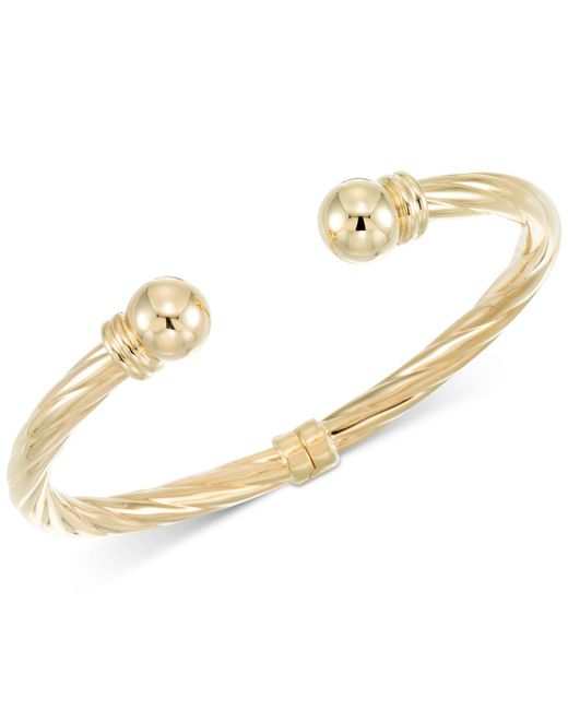 Macy's - Metallic Rope-style Hinged Cuff Bracelet In 14k Gold - Lyst