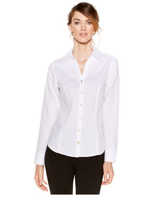 Calvin Klein | White Non-iron Button-down Top | Lyst