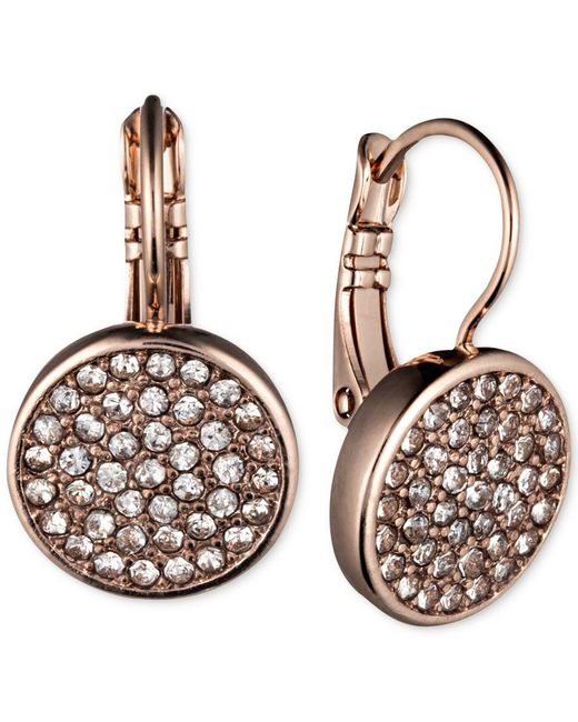 Anne Klein | Pink Rose Gold-tone Pave Disc Drop Earrings | Lyst