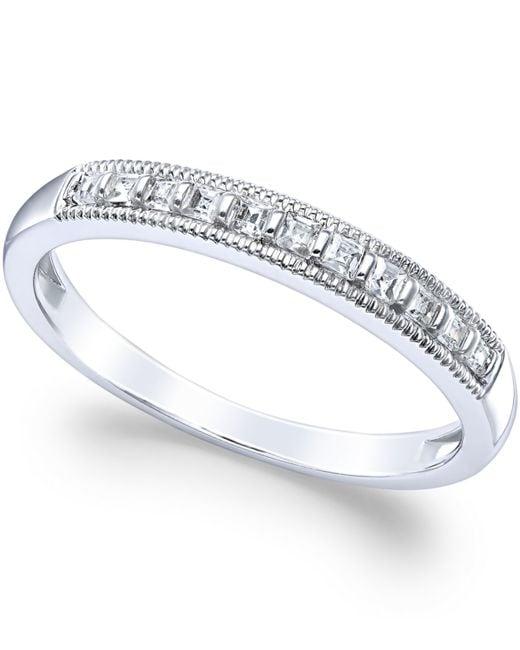 Macy's | Diamond Milgrain Ring In 14k White Gold (1/4 Ct. T.w.) | Lyst