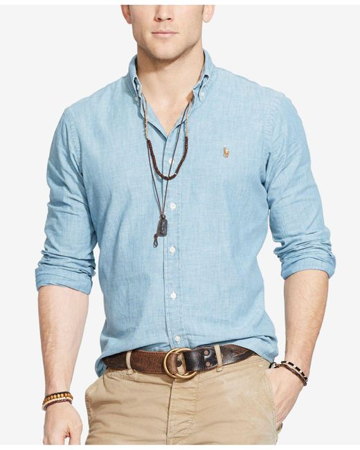 Polo Ralph Lauren | Blue Classic-fit Chambray Shirt for Men | Lyst