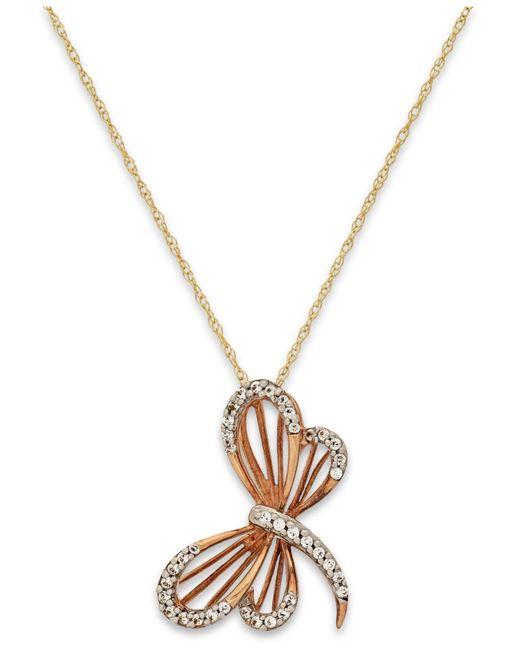 Macy's | Metallic Diamond (1/10 Ct. T.w.) Dragonfly Pendant Necklace In 10k Gold | Lyst