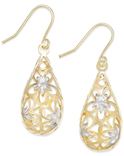 Macy's | Multicolor Two-tone Floral Teardrop Drop Earrings In 10k Gold | Lyst