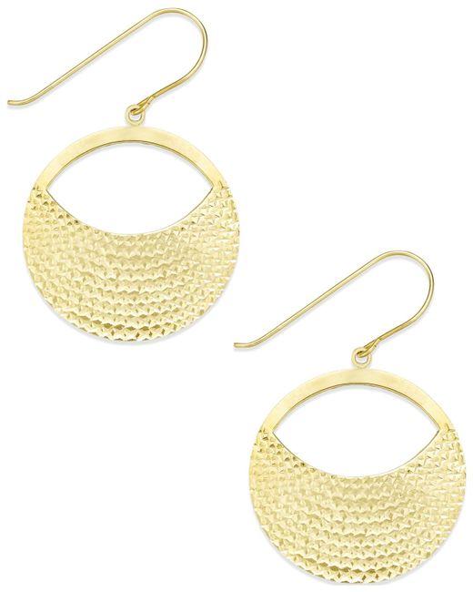 Macy's | Metallic Diamond-cut Circle Drop Earrings In 10k Gold | Lyst