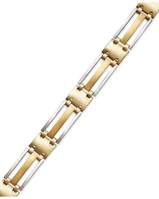 Macy's | Metallic Men's Two-tone Bracelet In 14k Gold for Men | Lyst