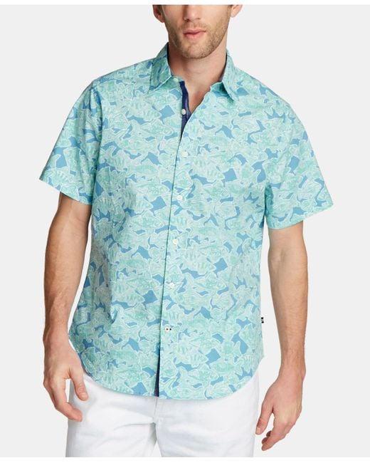 Nautica Blue Printed Stretch Oxford Shirt for men