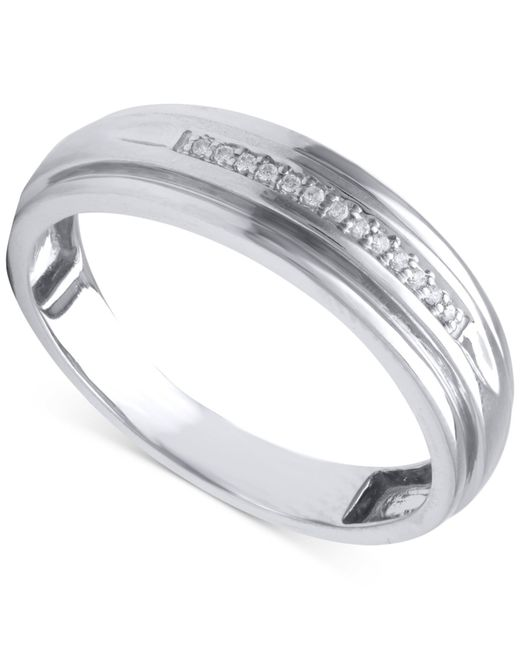 Beautiful Beginnings | Metallic Men's Diamond Accent Band In 14k White Gold for Men | Lyst