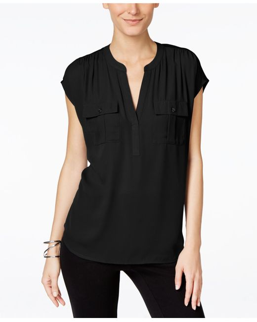 INC International Concepts | Black Dolman-sleeve Mixed-media Utility Shirt | Lyst