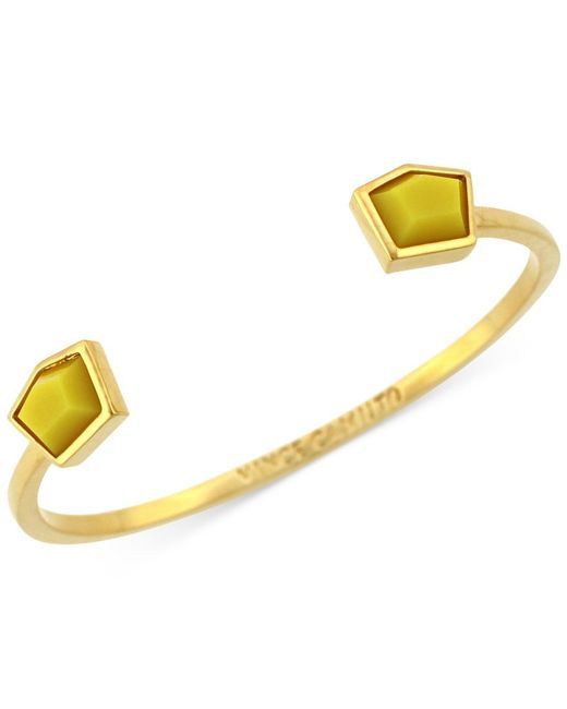 Vince Camuto | Yellow Gold-tone Stone Open Cuff Bracelet | Lyst