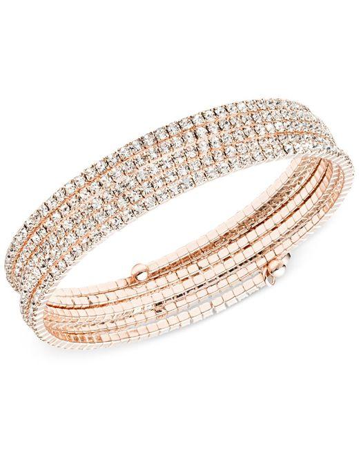 Anne Klein   Pink Rose Gold-tone Multi-row Rhinestone Flex Bracelet   Lyst