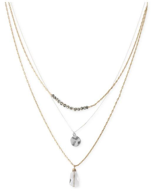 Kenneth Cole | Metallic Two-tone Disc And Faceted Bead Three-row Necklace | Lyst