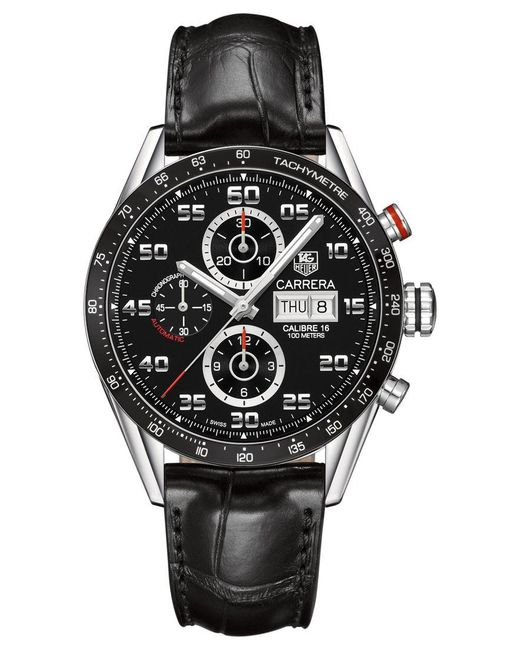 Tag Heuer | Black Men's Swiss Automatic Chronograph Carrera Calibre 16 Stainless Steel Bracelet Watch 43mm Cv2a1r.fc6235 for Men | Lyst