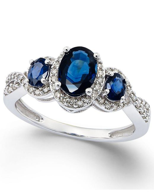 Macy's | Sapphire (1-1/3 Ct. T.w.) And Diamond (1/4 Ct. T.w.) Three-stone Ring In 14k White Gold | Lyst