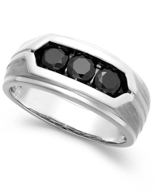 Macy's   Metallic Men's Black Diamond Ring In Sterling Silver (1 Ct. T.w.) for Men   Lyst