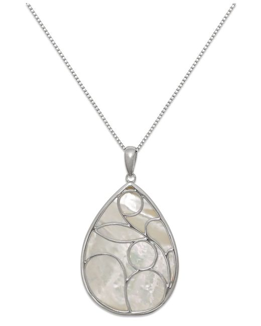 Macy's | Metallic Caged Genuine Mother Of Pearl Pendant Necklace In Sterling Silver (33mm) | Lyst
