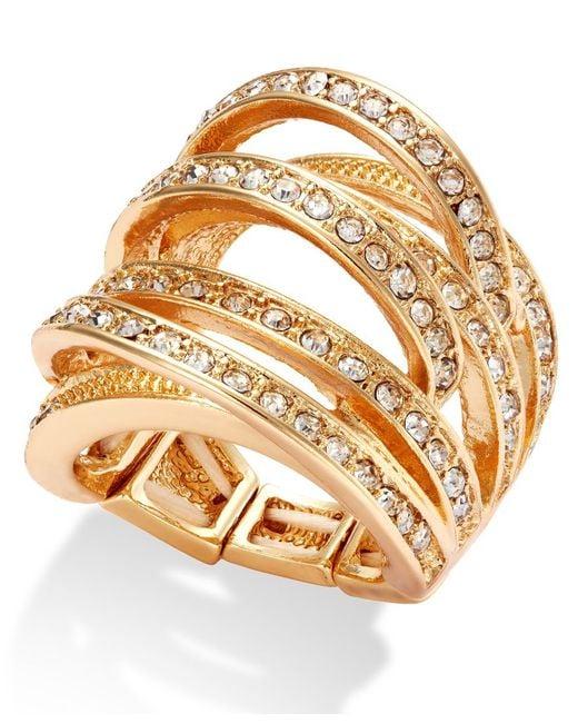 INC International Concepts | Metallic Gold-tone Crystal Crisscross Adjustable Ring | Lyst