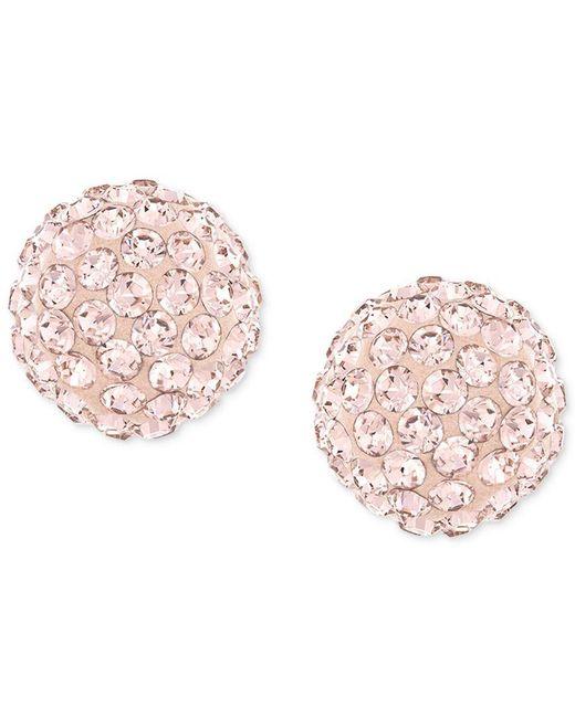 Swarovski | Pink Rose-gold-plated Crystal Stud Earrings | Lyst