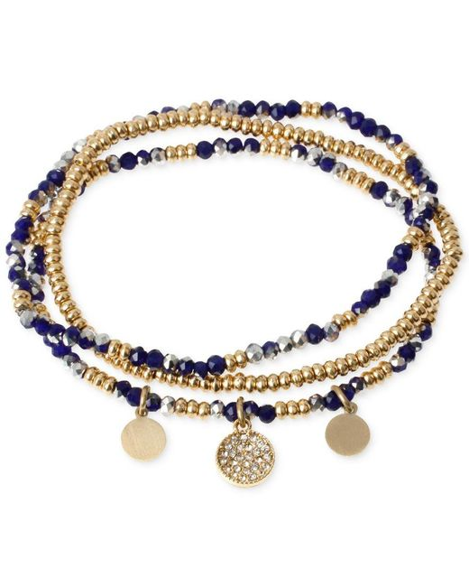 Kenneth Cole | Two-tone Blue Faceted Bead Stretch Bracelet Set | Lyst