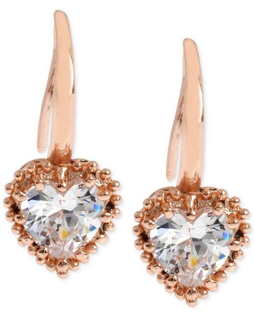 Betsey Johnson | Pink Rose Gold-tone Crystal Heart Drop Earrings | Lyst