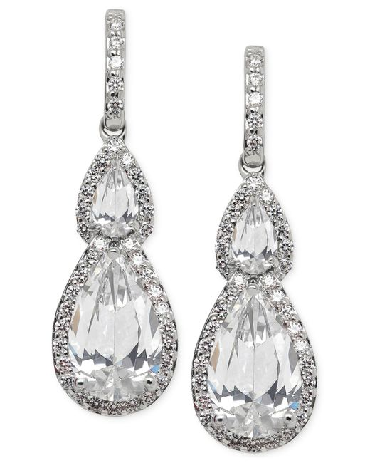 Arabella | Metallic Swarovski Zirconia Teardrop Earrings In Sterling Silver | Lyst