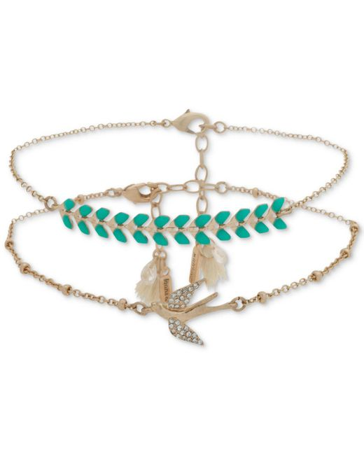 Lonna & Lilly - Blue Gold-tone 2-pc. Set Pavé, Stone & Tassel Anklets, Created For Macy's - Lyst
