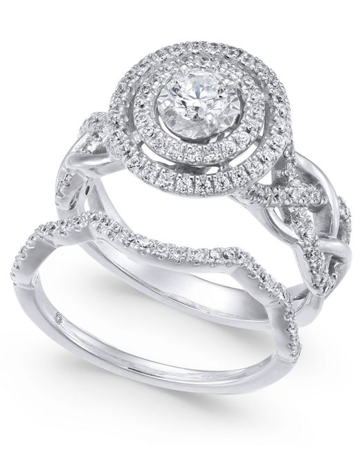Macy's - Metallic Diamond Braided Double Halo Bridal Set (1 Ct. T.w.) In 14k White Gold - Lyst