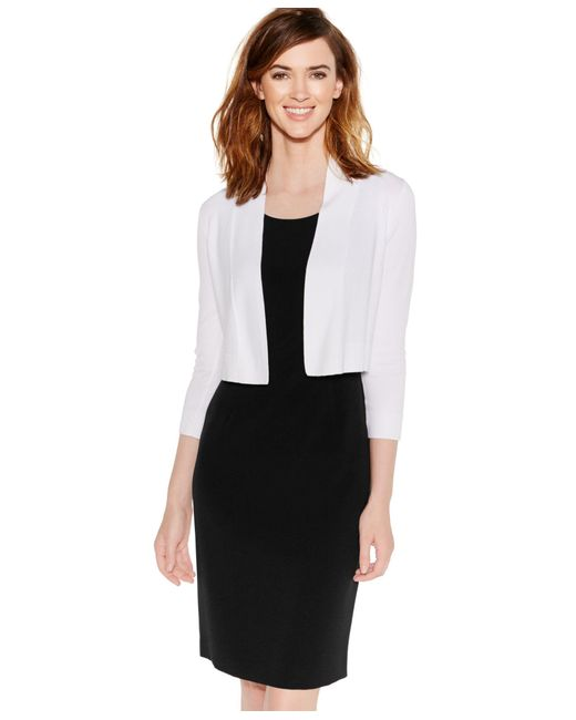 Calvin Klein   White Cropped Open-front Cardigan   Lyst