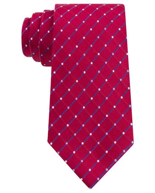 Geoffrey Beene | Red City Grid Extra Long Tie for Men | Lyst