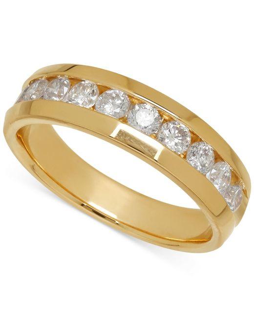 Macy's | Metallic Men's Diamond Band In 14k Yellow Gold (1 Ct. T.w.) for Men | Lyst