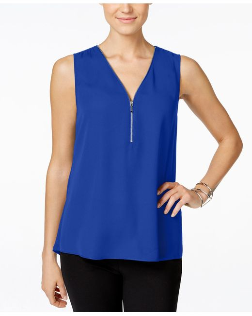 INC International Concepts | Blue Zip-front Knit-back Top, Only At Macy's | Lyst