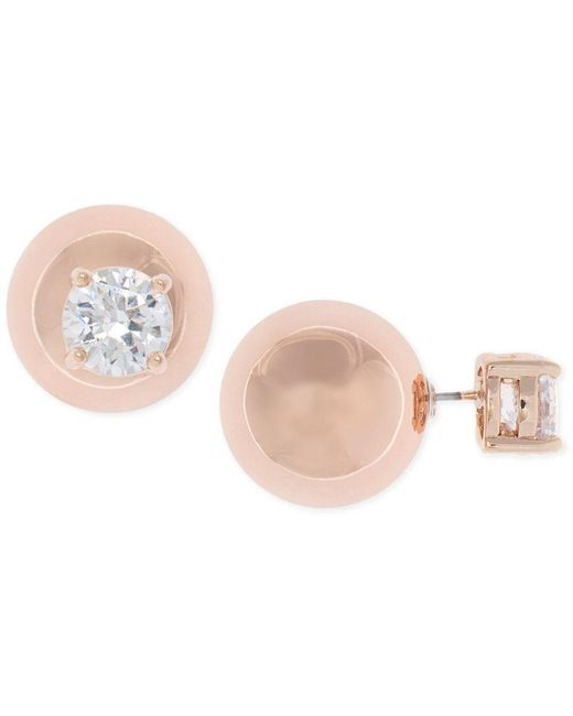 Anne Klein | Pink Rose Gold-tone Crystal And Ball Front Back Earrings | Lyst