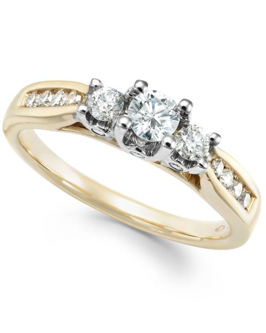 Macy's | Metallic Three-stone Diamond Ring In 14k Gold, White Gold Or Rose Gold (1/2 Ct. T.w.) | Lyst
