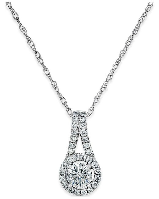 Macy's | Metallic Diamond Halo Pendant Necklace (1/2 Ct. T.w.) In 14k White Gold | Lyst
