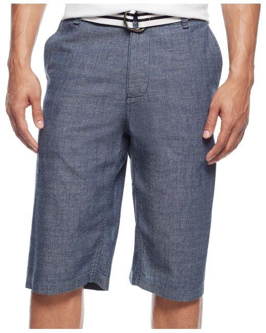 Sean John   Blue Men's Belted Flat-front Chambray Shorts for Men   Lyst