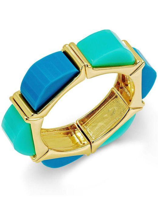 ABS By Allen Schwartz   Gold-tone Blue And Aqua Multi Colored Stretch Bracelet   Lyst