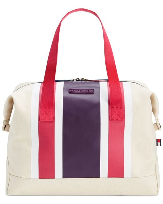 Tommy Hilfiger | Purple Th Stripes Printed Canvas Large Weekender | Lyst