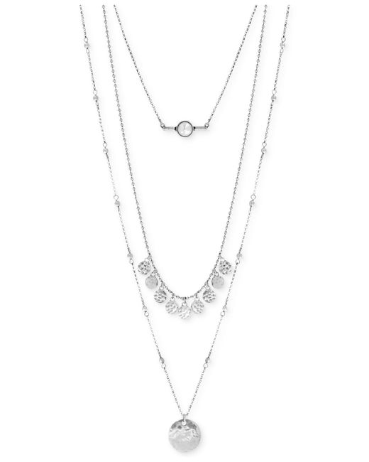 Lucky Brand | Metallic Silver-tone White Cabochon Layer Necklace | Lyst