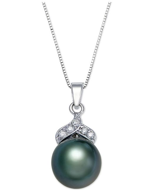 Macy's | Metallic Tahitian Pearl (9mm) And Diamond Accent Pendant Necklace In 14k White Gold | Lyst