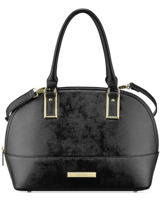 Anne Klein | Black Shimmer Down Satchel | Lyst