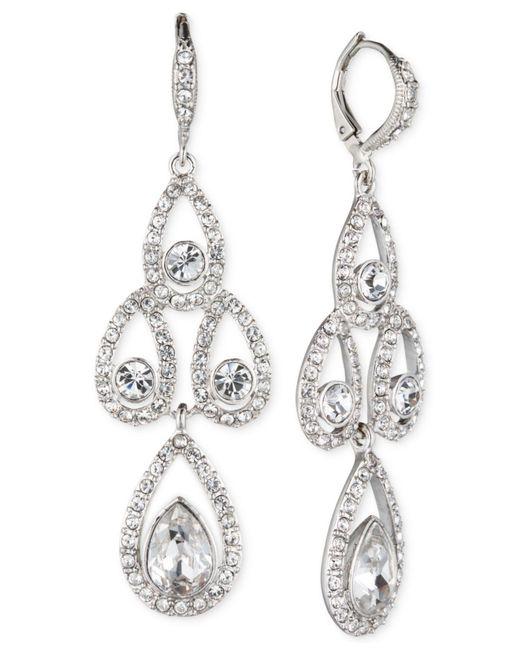 Givenchy   Metallic Silver-tone Crystal Pear Open Chandelier Earrings   Lyst