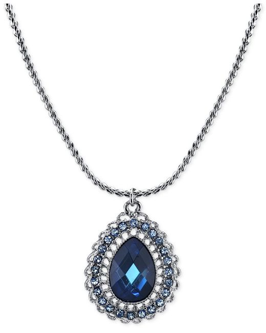 2028   Silver-tone Blue Crystal Teardrop Pendant Necklace   Lyst