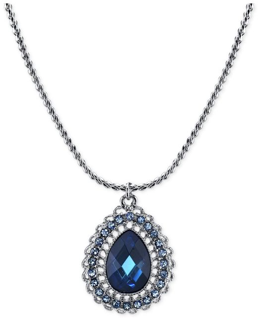 2028 | Silver-tone Blue Crystal Teardrop Pendant Necklace | Lyst