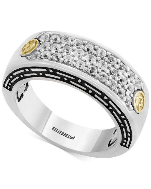 Effy Collection - Metallic Men's White Sapphire Cluster Ring (1 Ct. T.w.) In Sterling Silver & 18k Gold for Men - Lyst