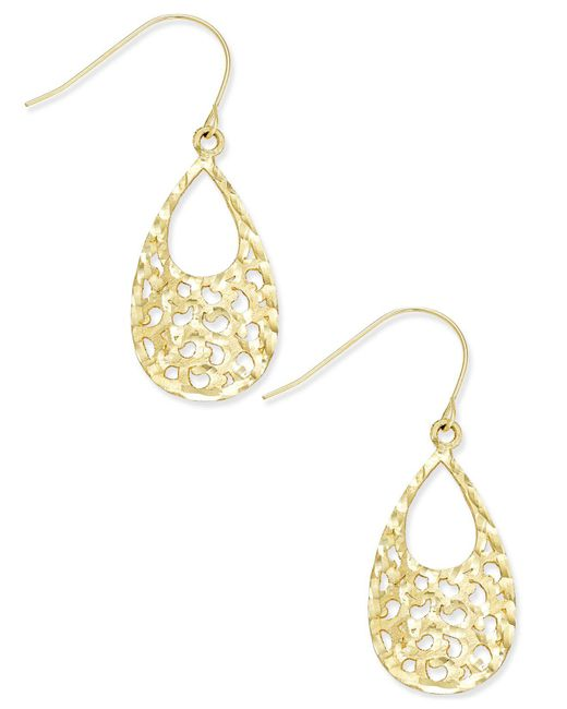 Macy's - Metallic Openwork Cut-out Teardrop Drop Earrings In 10k Gold - Lyst
