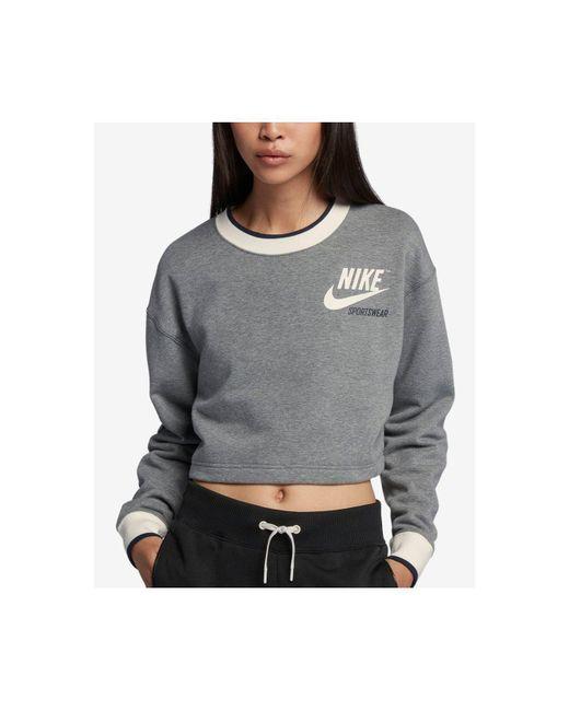 Nike - Gray Sportswear Reversible Fleece Cropped Sweatshirt - Lyst