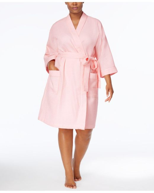 Charter Club - Pink Plus Size Waffle-weave Wrap Robe - Lyst