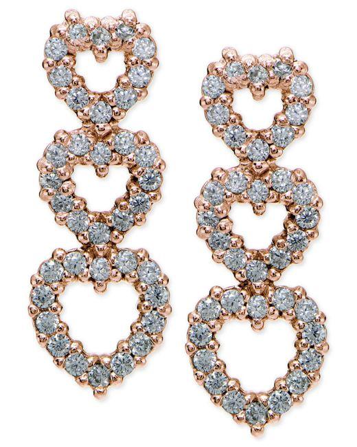 Giani Bernini - Metallic Cubic Zirconia Pavé Triple Heart Drop Sterling Silver Earrings - Lyst