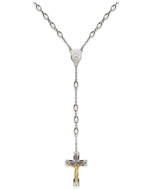 Macy's | Metallic Men's Crucifix Rosary Necklace In Ion-plated Stainless Steel | Lyst